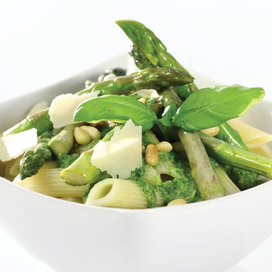 Pesto, pasta og asparges