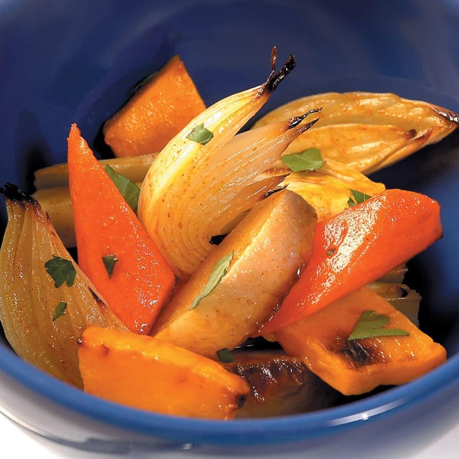 Ovnsbakte grønnsaker med karrydressing