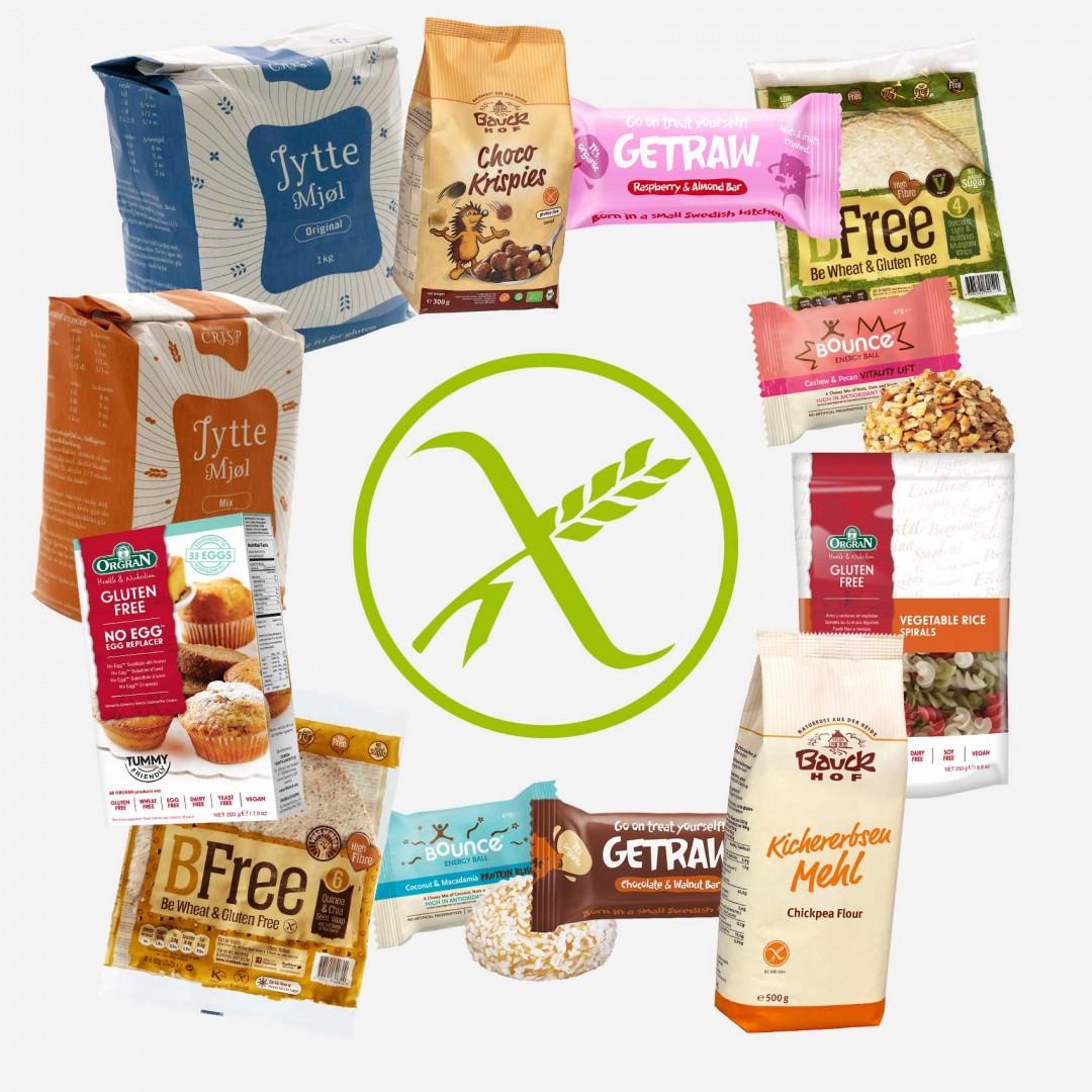 Glutenfrie produkter - collage